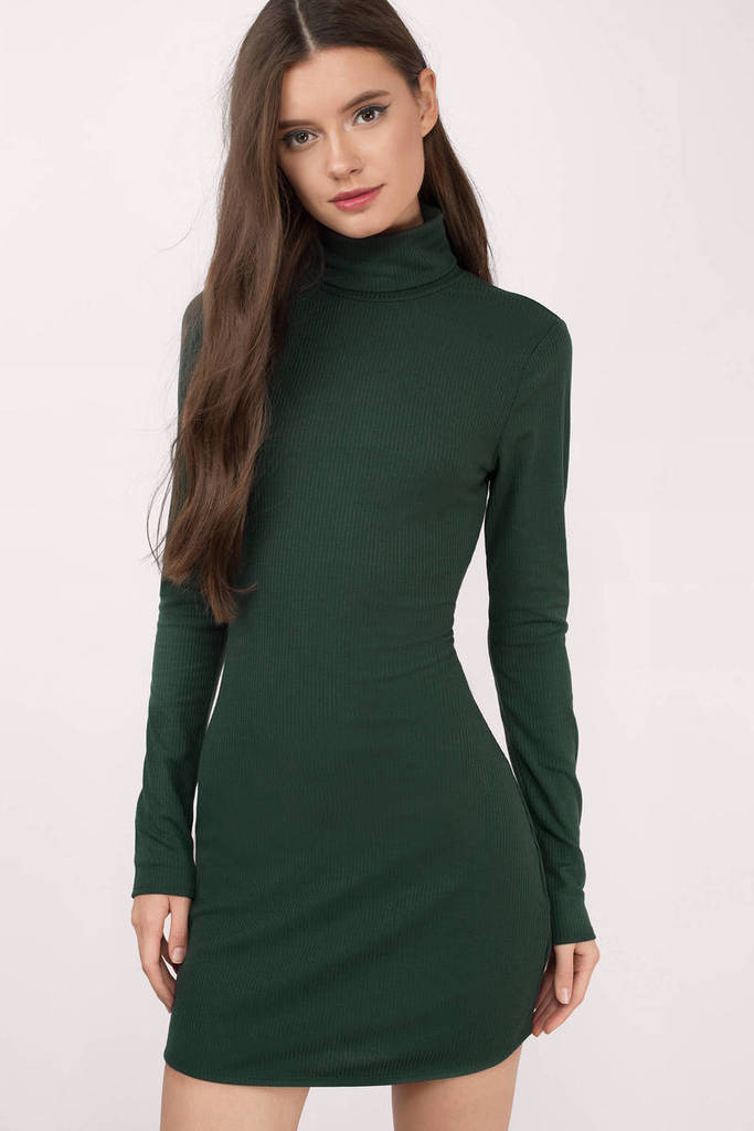 Green Turtleneck Dress