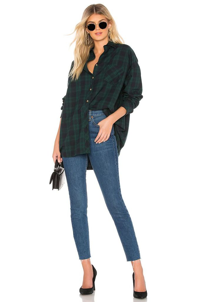 Oversized Green Flannel Top