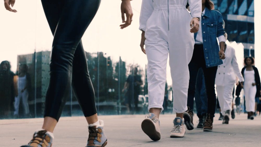 Women walking in a straight line