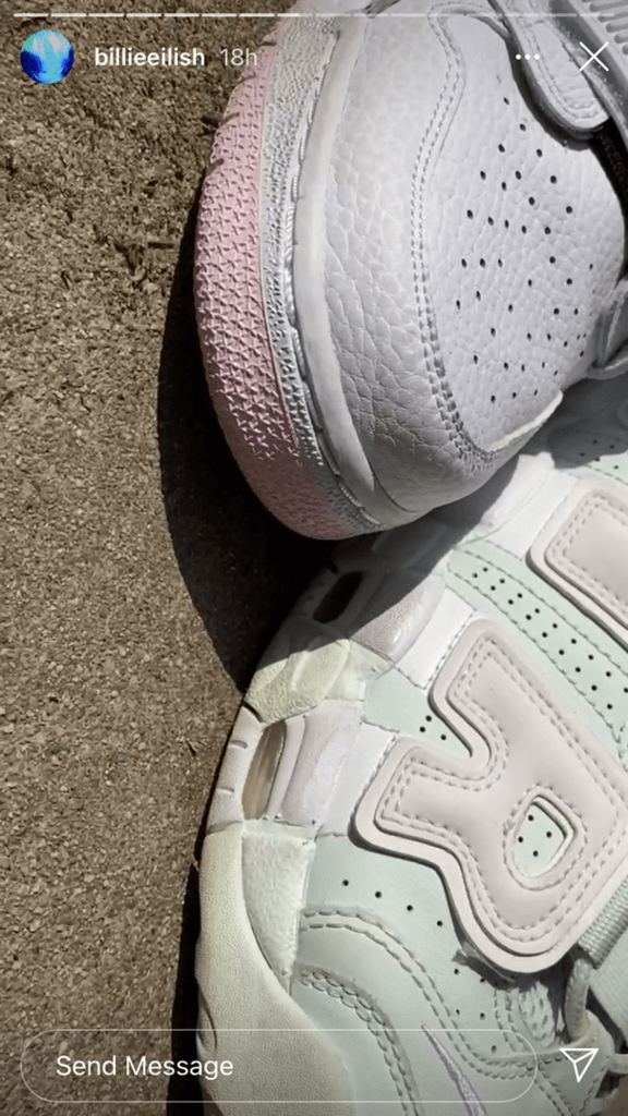 the Nike sneakers up close