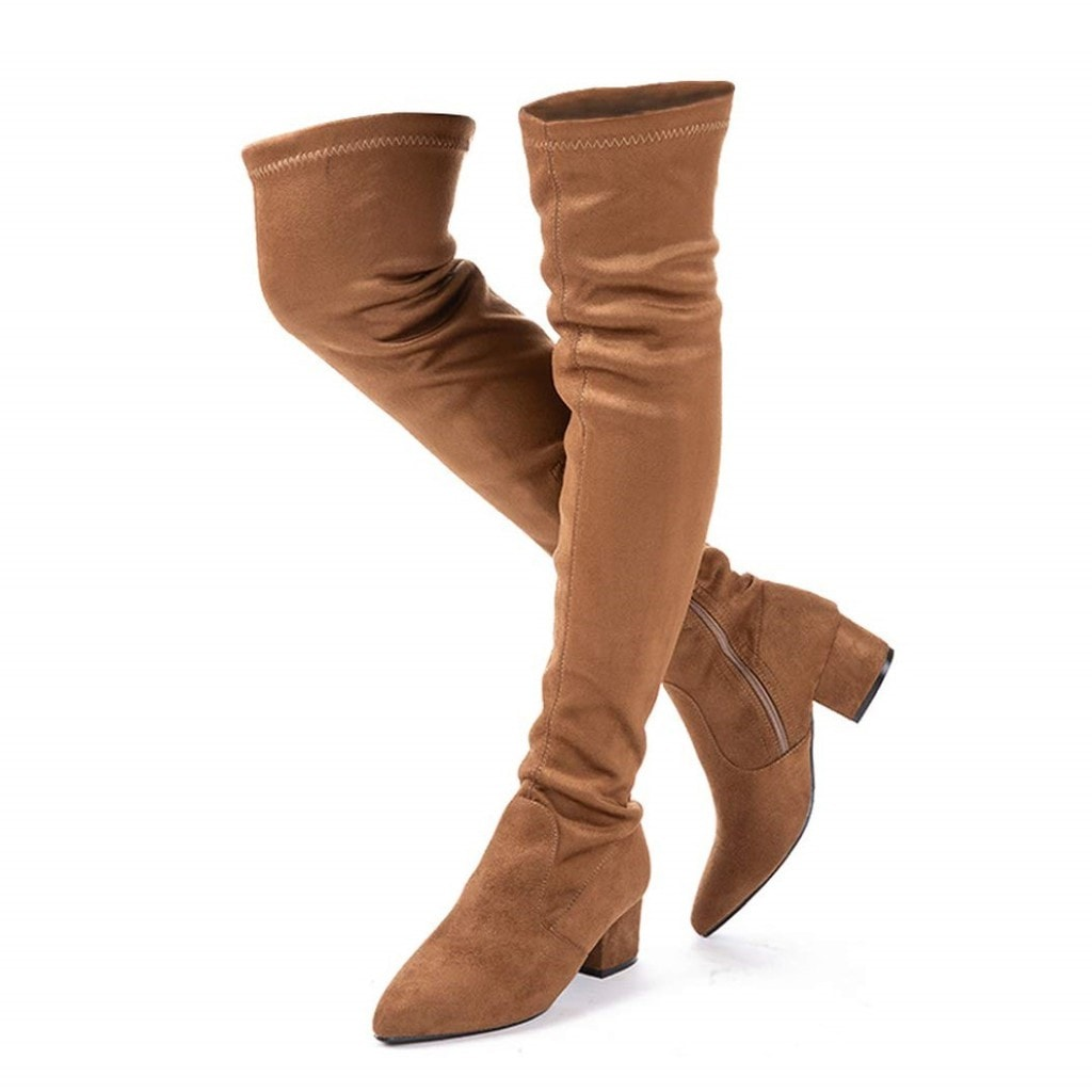 A pair of beige N.N.G Over Knee Long Boots
