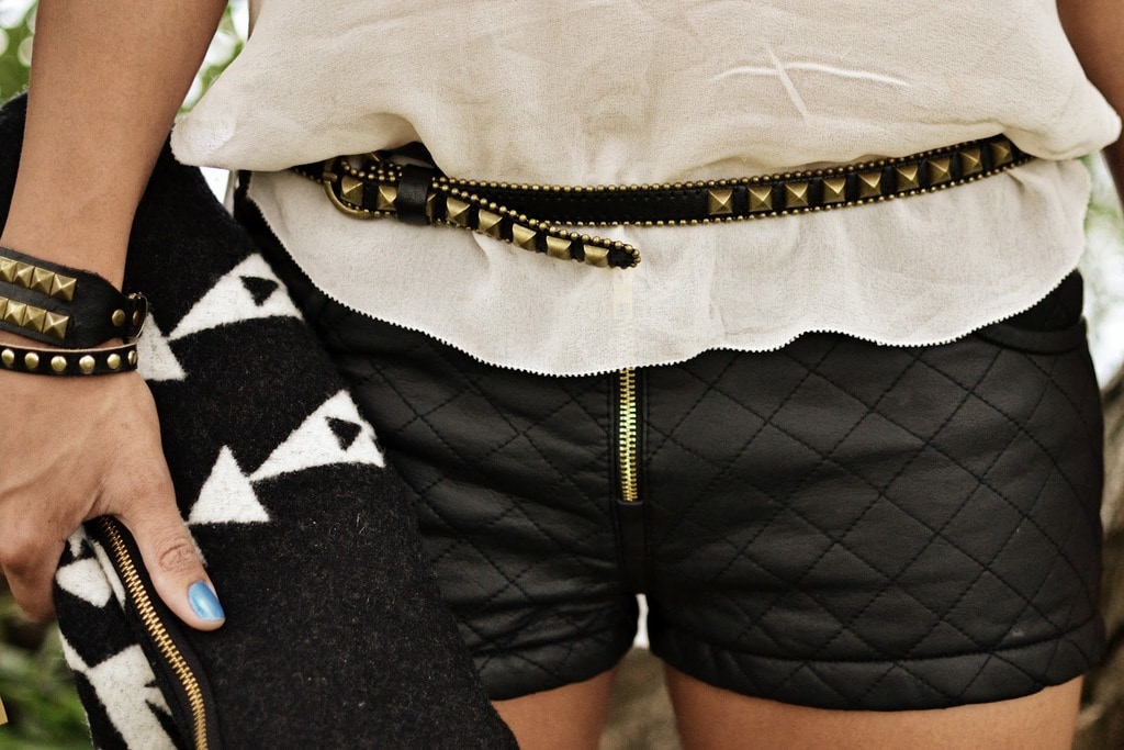 A quilted outfit paired with different cloth textures