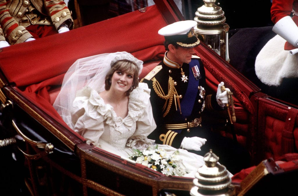The Prince and Princess of Wales return to Buckingham Palace by carriage after their wedding, 29th July 1981.