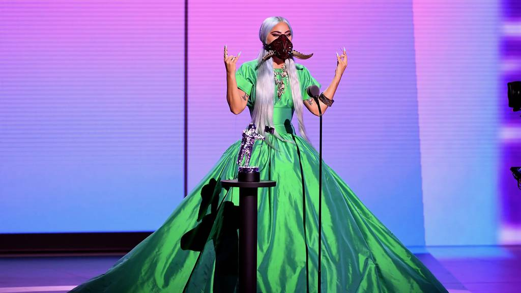 Singer Lady Gaga during an acceptance speech at the 2020 VMAs wearing a custom face mask