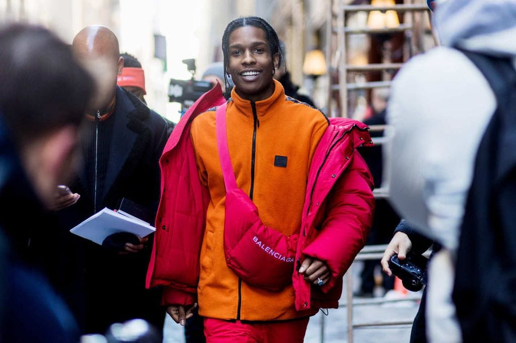 rapper A$AP Rocky wearing a Gorpcore-inspired outfit