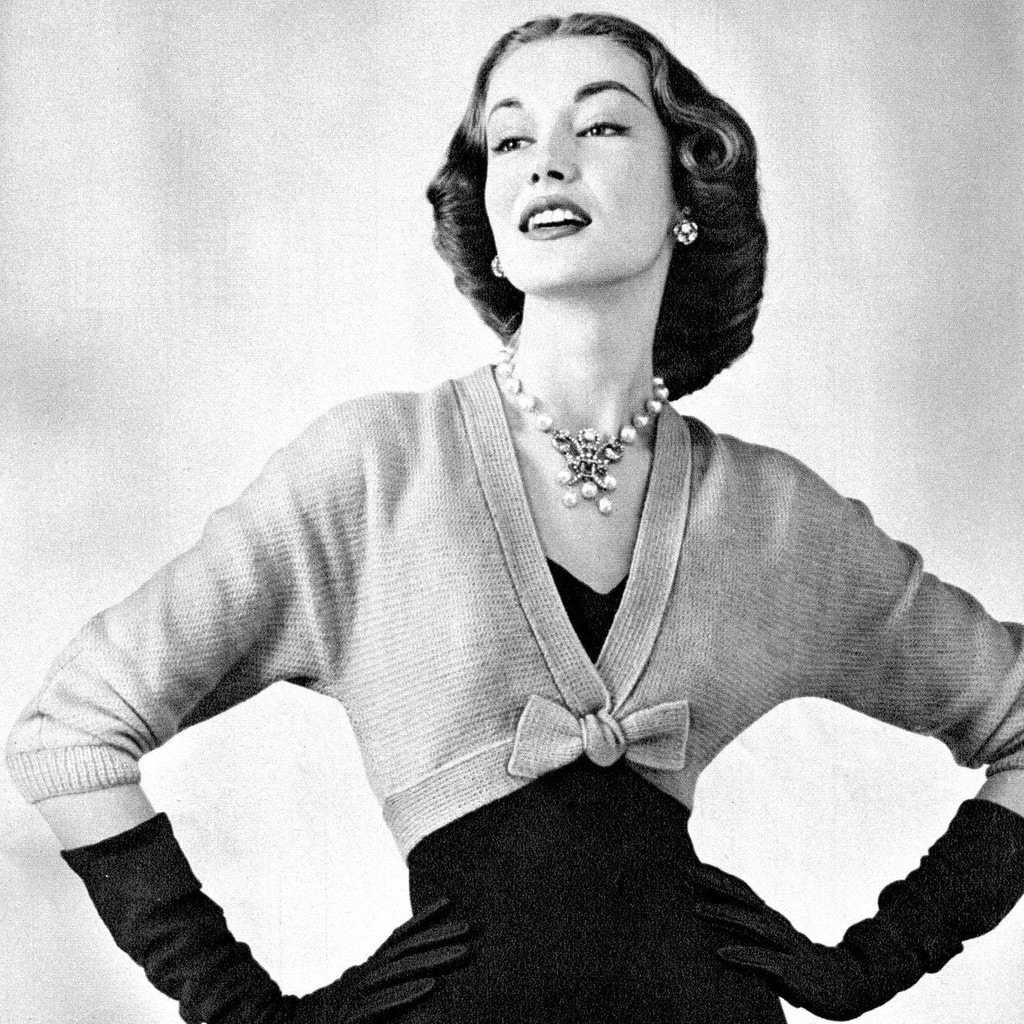 Vintage photo from the 1950s with a woman wearing shrug fashion