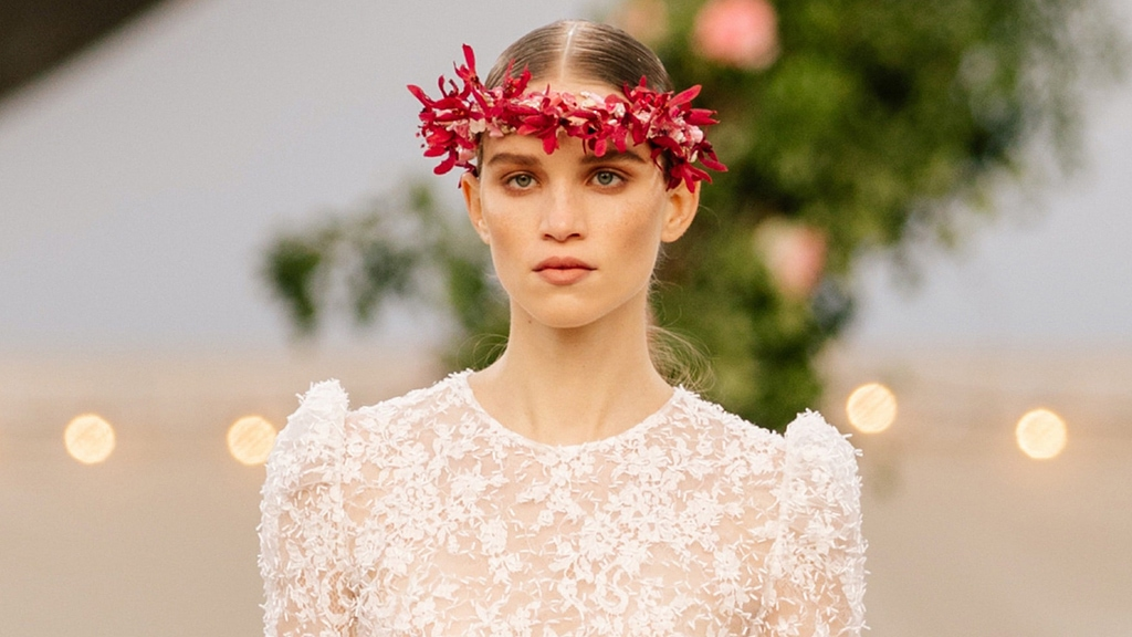 Flower crowns featured at Spring/Summer 2021 Chanel Haute Couture Fashion Show