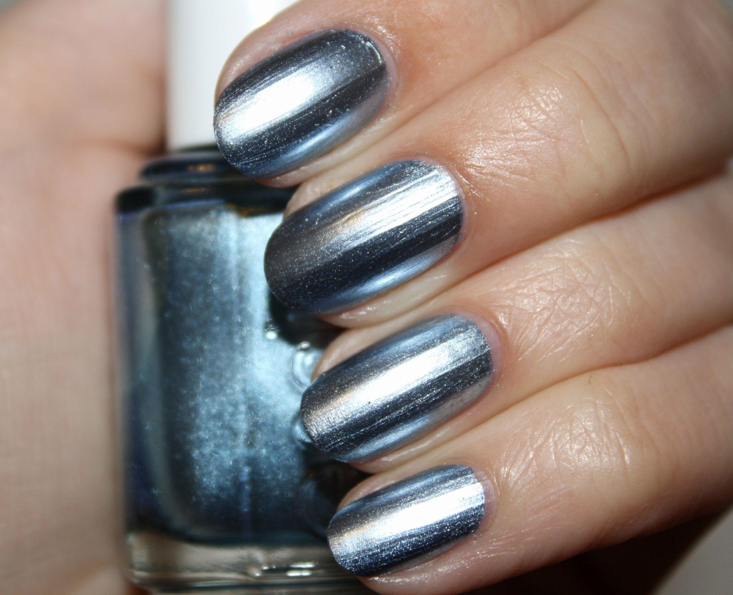 Metallic nail polish in silver