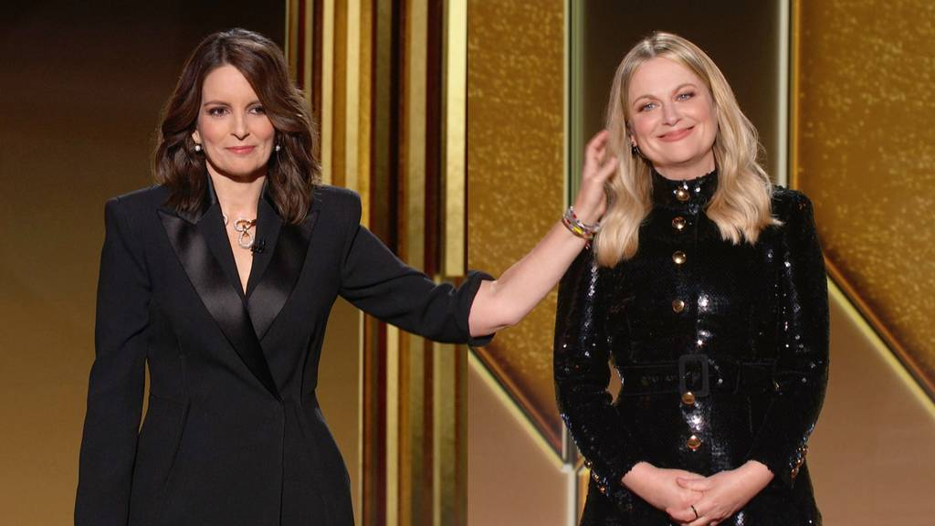 Hosts, Tina Fey and Amy Poehler, for the 2021 Golden Globes.