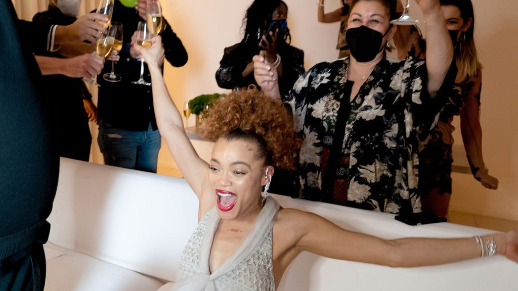 Andra Day reacting to her winning the 2021 Golden Globes award for Best Actress in a Motion Picture.