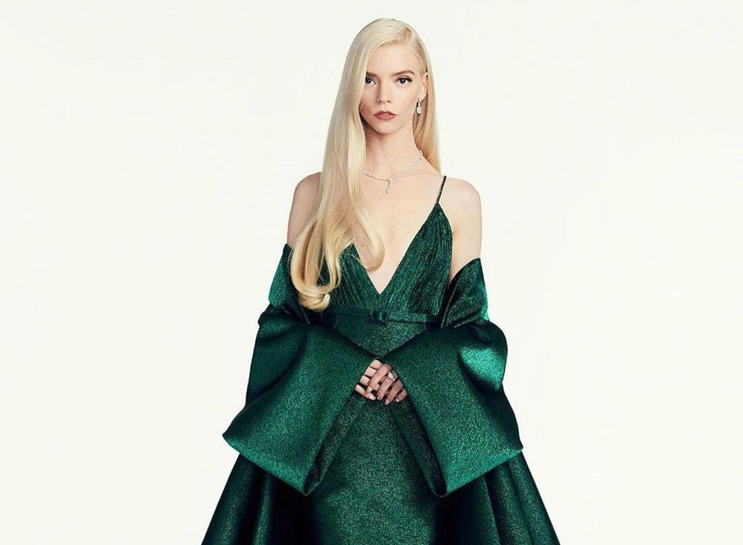 Anya Taylor-Joy wearing a green Dior gown