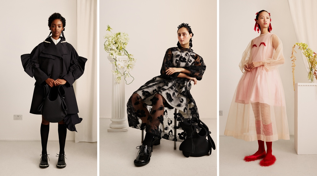 3 models wearing 2 outfits from the H&M x Simone Rocha womenswear collection
