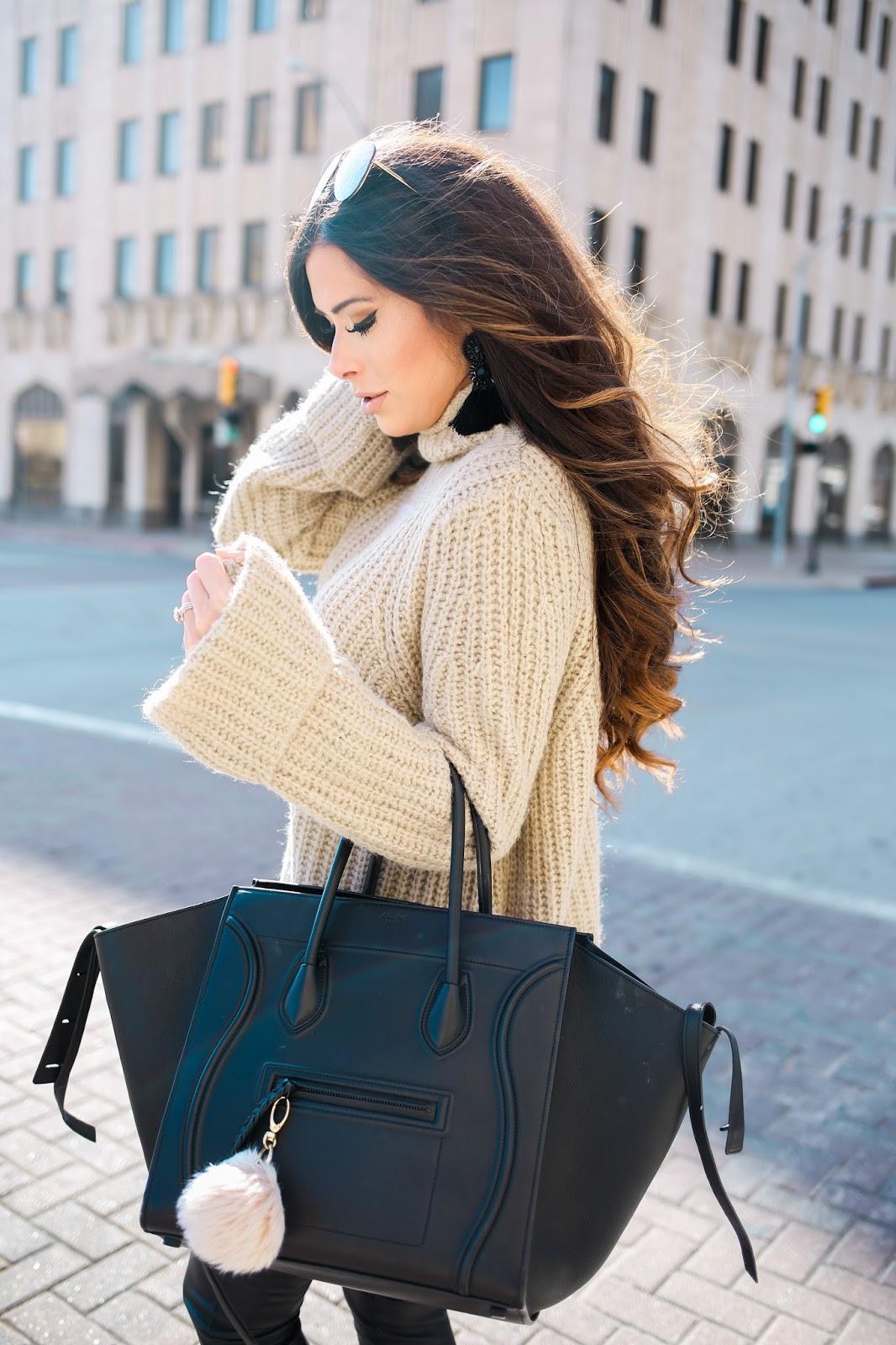 Young woman wearing an oversized bag