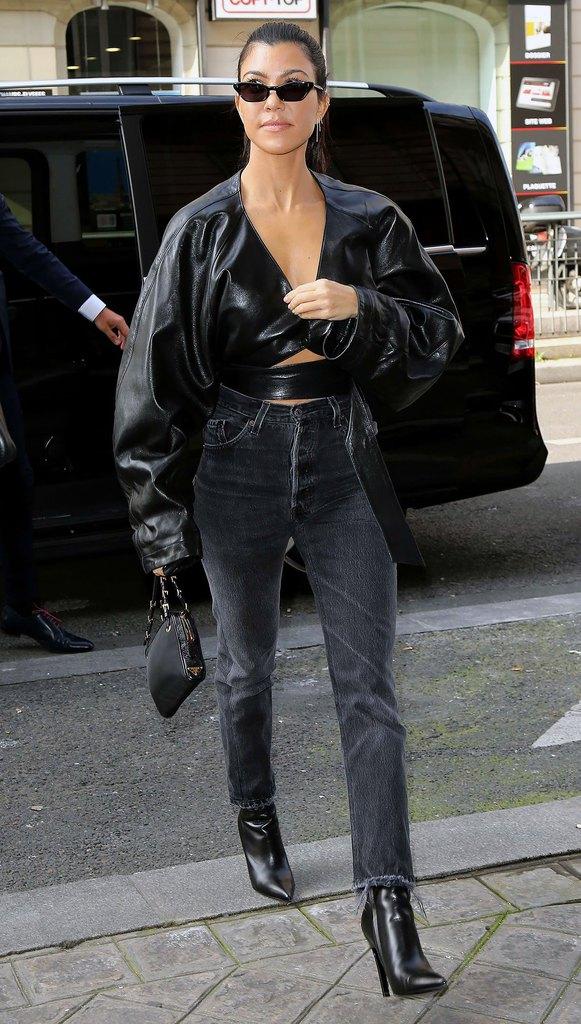 Kourtney Kardashian in a street style outfit