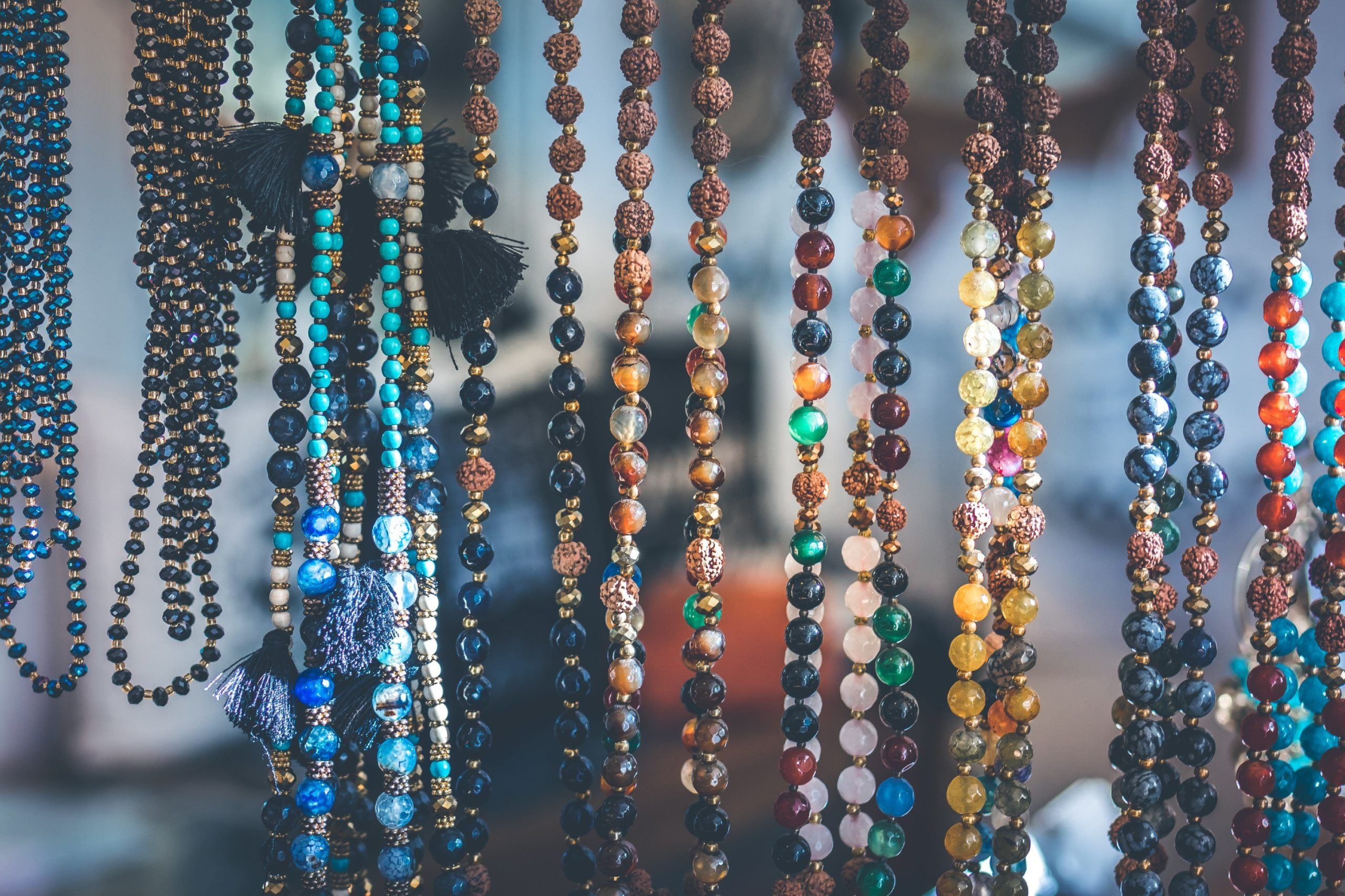 necklaces made from colorful beads