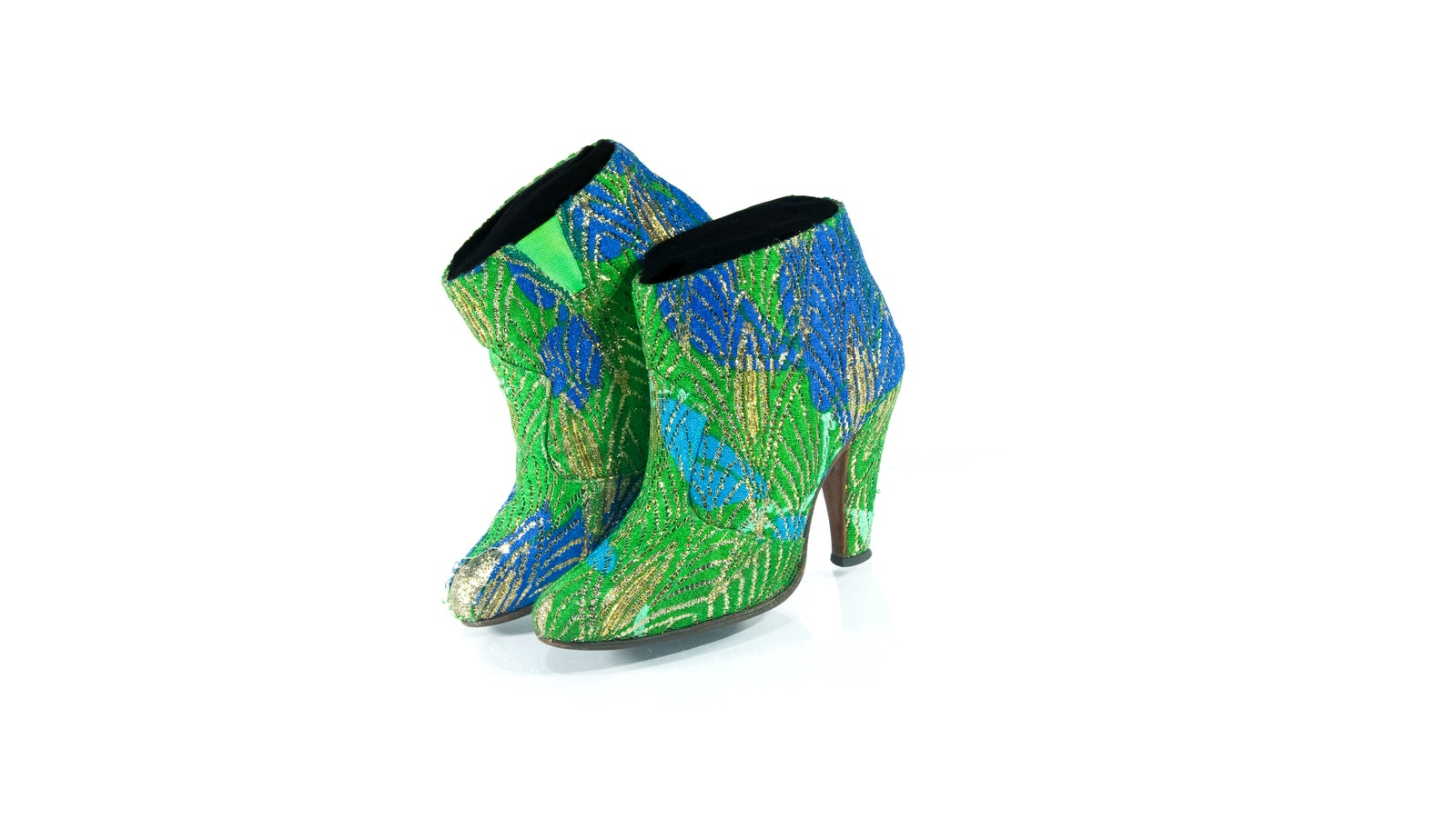 Blue and green-colored boots with heels which Prince wore at the 1985 AMAs