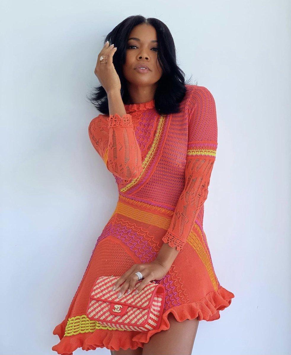 Gabrielle Union wearing the Roberta Einer knit dress from her 2020 spring/summer line.